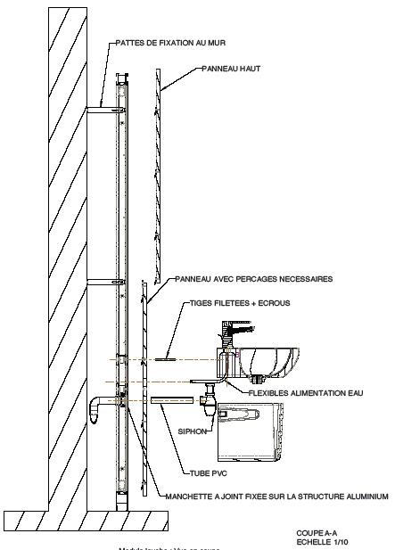 Module lavabo : vue en coupe